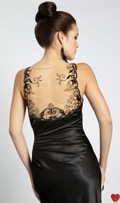 Sophisticated full length black satin dress with embroidered mesh back panel, by Dynasty of London.