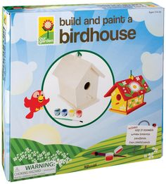 4M PROJECT KITS. Build and Paint a Bird House. Paint the bird house with your own design. Turn it into a home decor item that is unique and colorful. This bird house painting kit contains one terra cotta bird house (size 9.5 cm in height), 1 paint strip of six colors, paint brush, 1 wooden stick, a cord and detailed instructions. This Bird House Painting craft kit is a 4M product and is appropriate for ages 8 and up. (Product#: FMK-2957) #garden #birds #outdoors #crafts #crafting #hobby