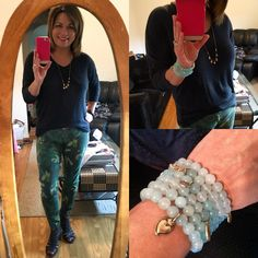 Showing off the #azulbeadbracelet today...who am I kidding, it's every day!  Paired with some oldies but goodies...#clovercamojegging and  #serenitytee easy comfy but stylish dressing is what I love about #cabiclothing !! #cabijewelry #dolcecharmnecklace #carpenterallin