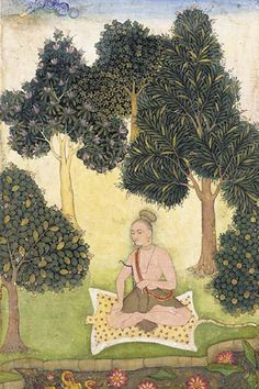 1620 to 1640: A yogi seated in a garden North Indian or Deccani miniature painting