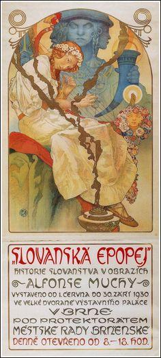 Slav Epic exhibition poster by Alphonse Mucha, 1930