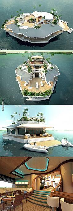 Is het een eiland of is het een boot? Wat het ook is. Een paar dagen dobberen in de zon op dit bijzondere schip moet heerlijk zijn.