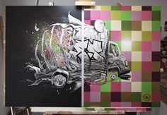 PEZ Deep Lights Dyptich - Paint, pencils and spray paint on coated wood (size: 80X120cm)
