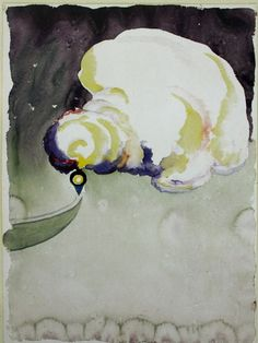 Train at Night in the Desert by Georgia O'Keeffe, 1916. Watercolour and graphite on paper, 12 x 9"