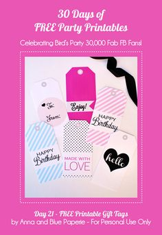 30 Days of FREE Party Printables: Day 21 - Everyday Gift Tags by Anna and Blue Paperie Free Printable Gift Tags, Printable Labels, Party Printables, Free Printables, I Love Mom, Party Accessories, Craft Party, Making Ideas, Birthday Gifts