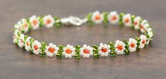 Adult Beaded Daisy Chain Anklet Seed Bead Jewelry White Green Orange on Etsy, $18.00