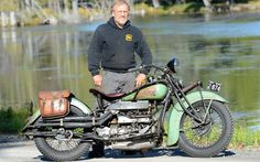 Owner Barry Brown and the Four in front of the millpond. He lives in a beautiful place that he's filled with beautiful old bikes. Despite this, he's likable. - Photo Gallery - Cycle Canada