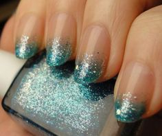 nails with blue sparkle tips