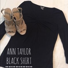 Ann Taylor Black Dress Shirt excellent condition!  Never been worn.  Scrunched at the top for character.  Very comfortable!  Size small. Ann Taylor Tops Blouses