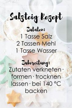 Salzteig Rezept: 1 Tasse Salz, 2 Tasse Mehl, 1 Tasse Wasser - Salzteig Grundrezept und Anleitung - Basteln mit Kindern #salzteig #basteln