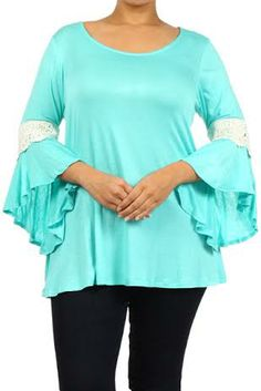 Mint Lace Flutter Sleeve Top - #blondellamydean #plussizefashion #plussize…