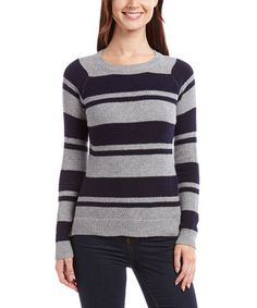 This Navy & Gray Stripe Sweater is perfect! #zulilyfinds