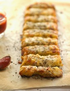 Baked Cauliflower Crust Garlic 'Breadsticks' by theironyou #Cauliflower_Sticks #GF #Healthy