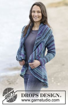 """Crochet DROPS jacket worked in a circle in """"Big Delight"""" and """"Karisma"""". Size: S - XXXL. ~ DROPS Design ༺✿ƬⱤღ✿༻"""
