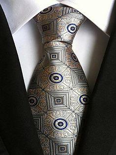 Men Wedding Cocktail Necktie At Work Gray Yellow Pattern Tie – USD $ 4.99