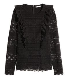 LA PERLA | Jacke aus Wolle mit Stretch mit Volant aus Leavers Spitze in Schwarz