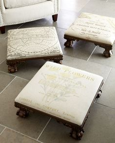 Mini Footstools at Horchow. Do something similar with chairs I just found.