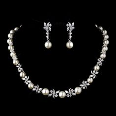 Pearl and CZ Stone Necklace & Earrings - perfect for the bride! specialoccasionsforless.com