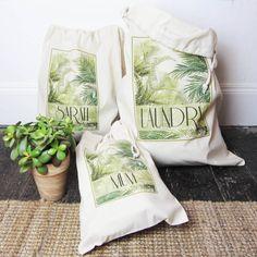 Personalised Palm Print Storage Bag Palm Tree Print, Shoe Storage, Print Design, Laundry, Interior, Home Decor, Printed Cotton, Graphic Prints, Purses And Bags