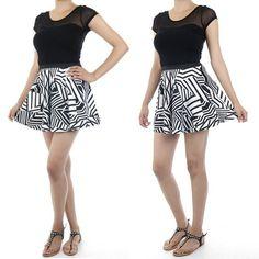Black & White Geometric Print Skater Skirt  $12.00 Free Domestic Shipping