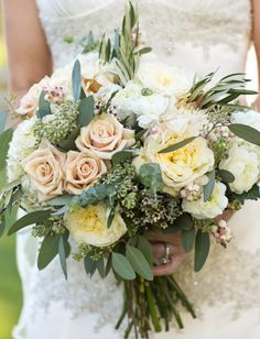 Bridal Bouquets and Wedding Flowers: Bouquet with pink garden roses and baby's breath