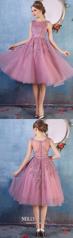 Short Prom Dresses,Pink Homecoming Dresses,Lace Prom Dresses For Teens,Junior Prom Dresses Tulle,Modest Prom Dresses With Beading
