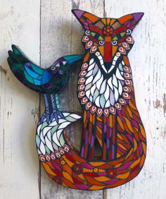 We've just received a delivery of work from Amanda Anderson who works under the name Wigwam Arts. Mosaic Artwork, Mirror Mosaic, Mosaic Wall, Mosaic Glass, Mosaic Animals, Mosaic Birds, Mosaic Crafts, Mosaic Projects, Mosaic Ideas