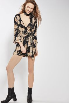 Dark Blossom Wrap Playsuit