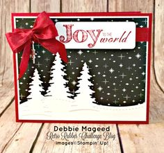 By Debbie Mageed, Joy to the World, Christmas Blessings, Holiday, Card Front Builder Thinlits, Christmas, Stampin Up