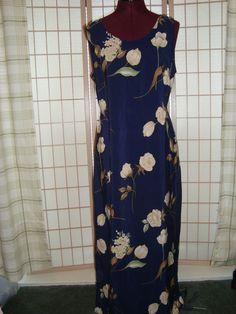 Pretty Sz 12 Women's Navy Blue & Cream Floral Shift Dress W/ Back ties #Unbranded #Shift