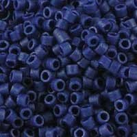 Miyuki 10/0 (2.2mm) Medium Delica Matte Opaque Cobalt Lustre glass cylinder beads, colour number 361. Navy blue, with a lightly shimmery frosted finish. UK seller.