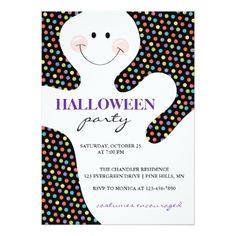 #Ghost Dots Halloween Party Invitations - #saturday #saturdays