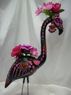 day of the dead skeleton flamingo tiara, quinceanera dia de los muertos sugar skull flamingo tiara, plastic flamingo via Etsy