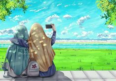 Hijab Anime, Anime Muslim, Cute Wallpapers, Wallpaper Backgrounds, Deviantart Drawings, Hijab Drawing, Best Friend Drawings, Islamic Cartoon, Allah Wallpaper