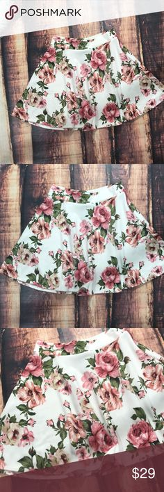 LAST << Rose Floral Pink Flower Skater Skirt >> Beautiful pink and white floral skirt perfect for spring! New from my boutique! Loose and flowy! Fits true to size. Waistband measures approximately 13.5 inches across the top laying flat, and is very stretchy. Skirts