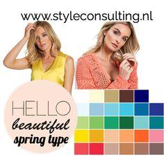 Het vier seizoenen-systeem bij kleurenanalyses.   Style Consulting Seasonal Color Analysis, Warm Spring, Hello Beautiful, Season Colors, Spring Colors, Color Combinations
