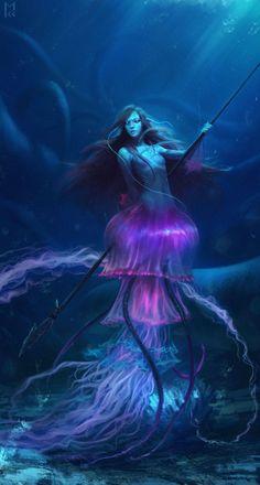 awesome looking jellyfish mermaid, creature, fantasy. Fantasy World, Dark Fantasy, Fantasy Art, Fantasy Mermaids, Mermaids And Mermen, Magical Creatures, Sea Creatures, Inspiration Artistique, Merfolk