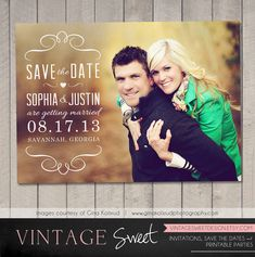 Save the Date Card / Magnet (Printable) by Vintage Sweet. $10.00, via Etsy.