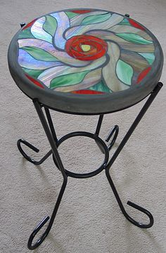 Grouted stained glass table