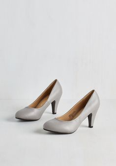 In a Classic of Its Own Heel in Grey - Mid, Faux Leather, Grey, Solid, Prom, Wedding, Party, Graduation, Bridesmaid, Bride, Minimal, Good, Variation, Basic, Social Placements, Spring