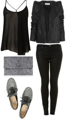 New Year's Outfit. #glitter #black #silver #style