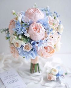 Hottest 7 Spring Wedding Flowers to Rock Your Big Day Hottest 7 Spring Wedding Flowers to Rock Your Big Day---elegant lilac hydrangea and blush peonies wedding bouquet, soft wedding flowers, spring wedding ideas, summer weddings,<br> Wedding Flower Guide, Peony Bouquet Wedding, Blue Bouquet, Peonies Bouquet, Wedding Flower Arrangements, Wedding Ideas, Blush Peonies, Blue Hydrangea Bouquet, Trendy Wedding