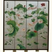 Chinese Silver Leaf Koi Fish Room Divider Screen [D] Dimension: 160 (w) x 185 (h) cm {G} Furniture>Living Room Furniture>Room Dividers