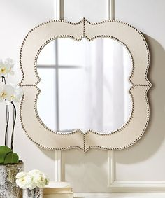 The transitional Curvature Wall Mirror from Tozai Home offers an elegant mix of glass, linen and tacks that give this mirror a new modern edge. Hang this wall accesssory anywhere in the home or office. Bliss Home And Design, Round Mirrors, Wall Mirrors, Hanging Mirrors, Square Mirrors, Mirror Glass, Mirror Mirror, Mirror Shapes, Burke Decor