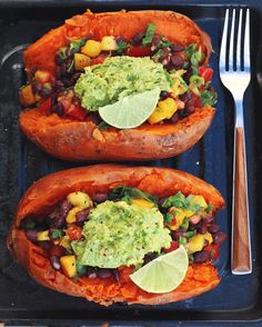 """thrivingonplants: """"Stuffed sweet potatoes With mango salsa & guac on top! So delicious Will be in my next what I eat in a day video, really excited about this one #vegan """""""