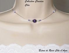 Collier mariage en stock Collection Classica -Collier Cléa- MARIAGE SOIREE - collier mariage perles violet blanc : Collier par bijoux-de-reine-cote-d-azur