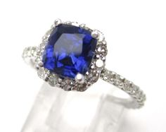 Cushion Cut Sapphire & Diamonds Harry Winston Inspired Ring