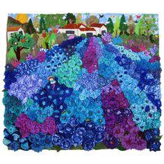 Blue Flower Fields Arpillera Art Quilts - Lucuma Designs