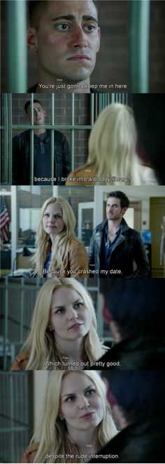 """Because you crashed my date, which turned out pretty good, after the rude interruption."" Emma, Hook and Will - 4*4 ""The Apprentice."" #CaptainSwan"