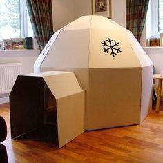 cardboard box playhouse | Cardboard igloo, children's playtime indoor and…